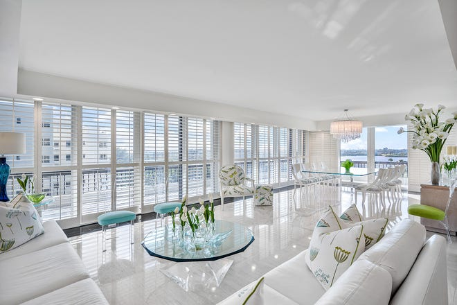 On the southwest corner of the south building at Beach Point, Judy and Jerry Kaufman's renovated condominium has walls of sliding glass doors that open to a wraparound balcony. The condo is listed for sale at $2.495 million.