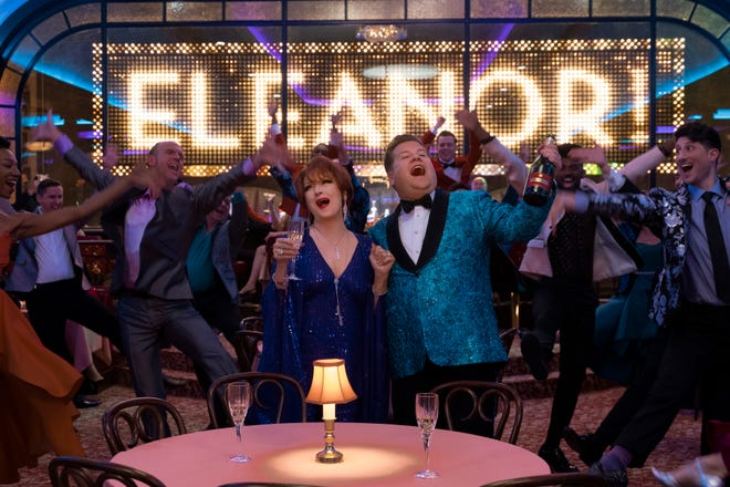 """Meryl Streep and James Corden star as Broadway actors trying to salvage their careers in """"The Prom,"""" the Netflix movie adaptation of the Broadway musical."""