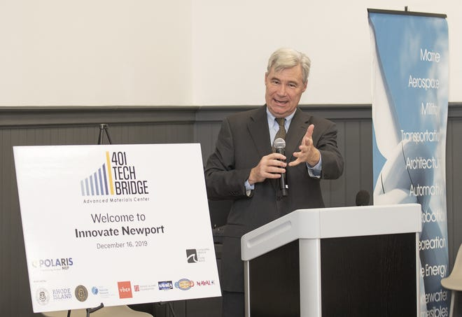 Sen. Sheldon Whitehouse, D.-R.I., speaks during a 2019 ceremony announcing the launch of the 401 Tech Bridge Advanced Materials Center in Portsmouth.
