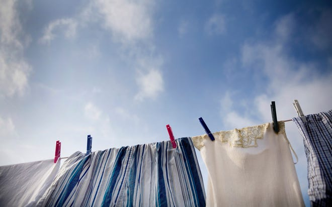 Air-drying laundry can save money and energy.