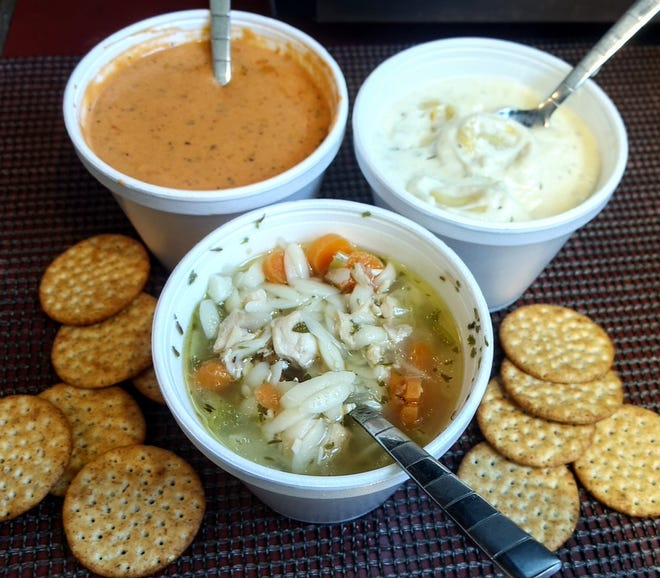 Tomato bisque, lemon chicken orzo, and creamy tortellini soups at Sweet T's in Perry Township.