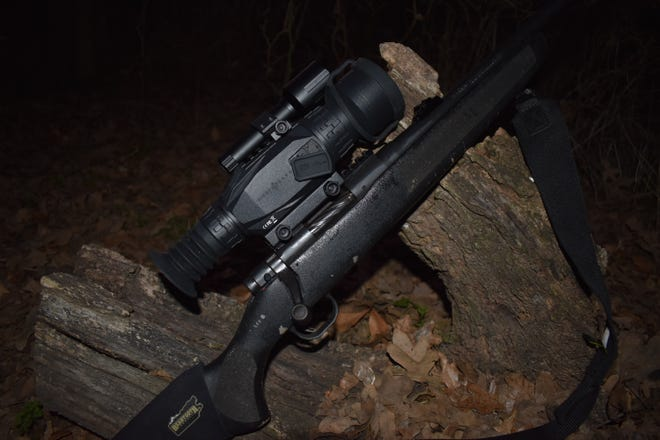 Luke used the Wraith, a digital day or night scope for his nighttime hog hunting.