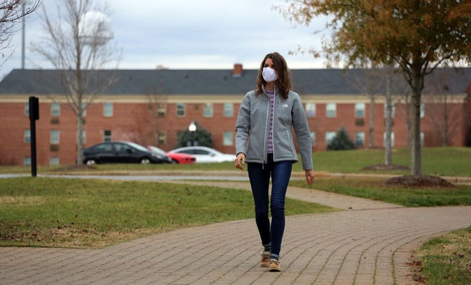 Claire Coile walks around the Gardner-Webb University campus during 2020. During the lockdown, Coile chose to stay on campus despite not having in-person classes.