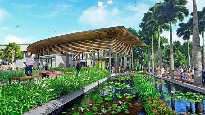 A rendering of the proposed design for the new welcome center at Marie Selby Gardens.