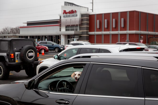 Draco, a shih tzu poodle mix, hangs out the driver's window with his owner, Bruce Reed, as they wait in the drive-through on the official opening day of the new Portillo's restaurant on Freedom Drive on Dec. 8. [Justin L. Fowler/The State Journal-Register]