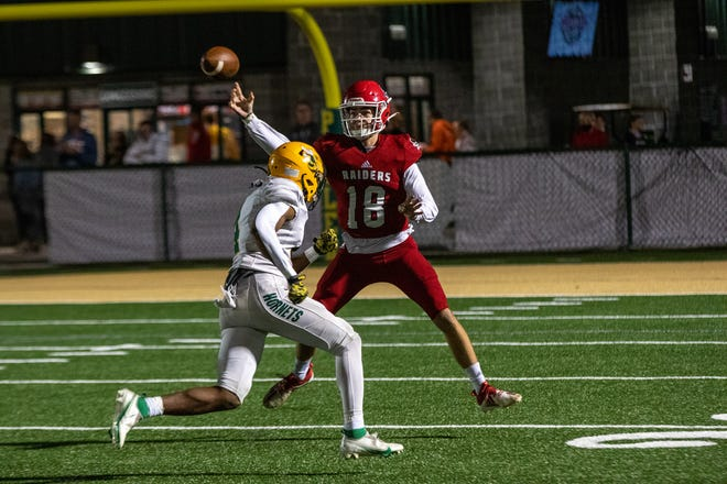 Savannah Christian quarterback Spencer Robicheaux passes the ball in the first quarter against Savannah Country Day on Friday night at Pooler Stadium.