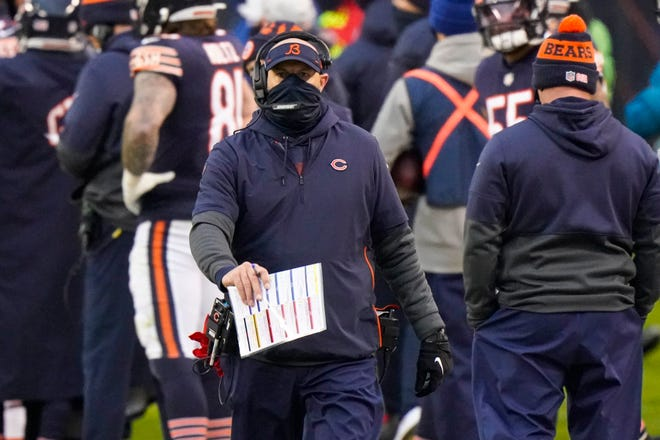 Chicago Bears head coach Matt Nagy on the sideline in the second half of an NFL football game against the Detroit Lions in Chicago, Sunday, Dec. 6, 2020.