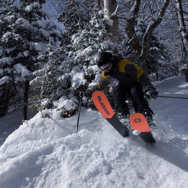 """Stuart Winchester, author of the """"Storm Skiing Journal"""" online newsletter and podcast, skiing at Burke Mountain, Vermont, in winter 2019."""