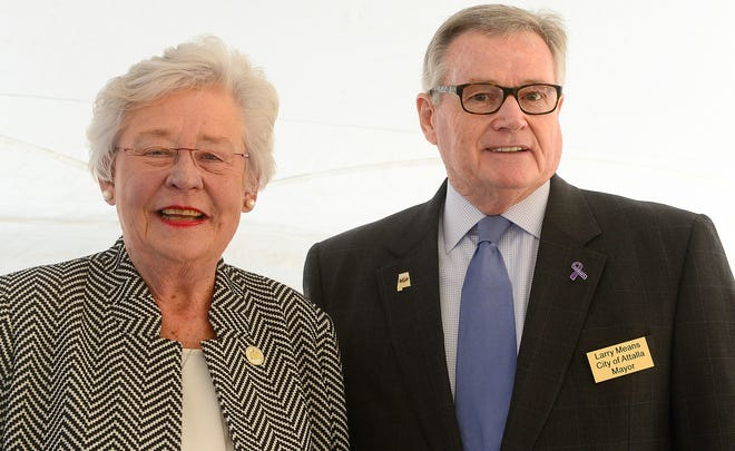 Attalla Mayor Larry Means, pictured with Gov. Kay Ivey at an industrial groundbreaking in 2019 in Attalla, says he's disturbed by misinformation circulating about a proposed animal parts rendering plant on property currently owned by the Gadsden Airport Authority.