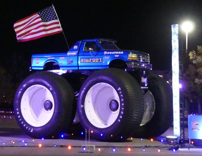 The Hot Wheels Ultimate Drive-Thru experience at the Toyota Arena in Ontario features 50 legendary Hot Wheel vehicles and monster trucks, including Bigfoot No. 5, the world's tallest and heaviest monster truck.