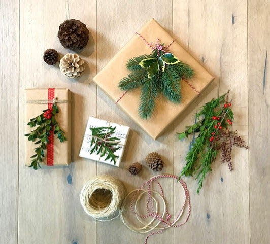 Using natural materials when wrapping gifts reduces waste.