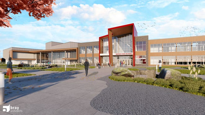 An architectural rendering shows the $157 million Neenah High School that will be built in Fox Crossing. The new high school is the centerpiece of the Neenah Joint School District's facilities improvement plan.