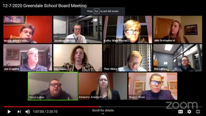Greenfield School District officials and board members listen to Greendale High School principal Steve Lodes (bottom row, left) discuss a proposed African American and Ethnic Studies class for the 2021-22 school year.