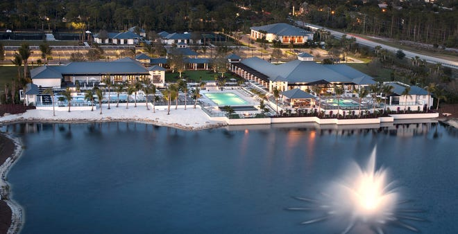 Kalea Bay's main amenity area, located on the north side of the large lake at the community's entrance, measures 88,000 square feet.