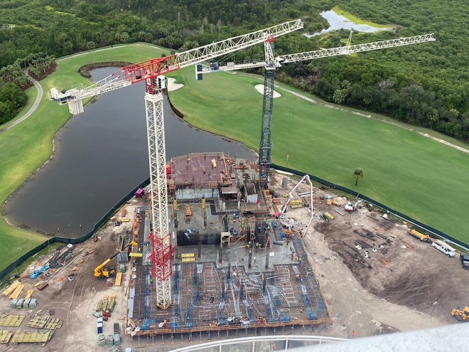 Construction of The Ronto Group's 27-floor Omega high-rise tower at Bonita Bay is well underway and going vertical.