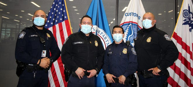 From left are: CBP officers Angel Portillo, Supervisory Officer Juan Castaneda, Jacob Gonzalez and Roger Urueta.