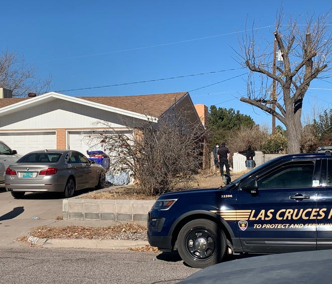 Las Cruces police investigate the scene of a shooting on Rosedale Drive on Tuesday, Dec. 8, 2020. Neighbors say the incident occurred around midnight Tuesday.