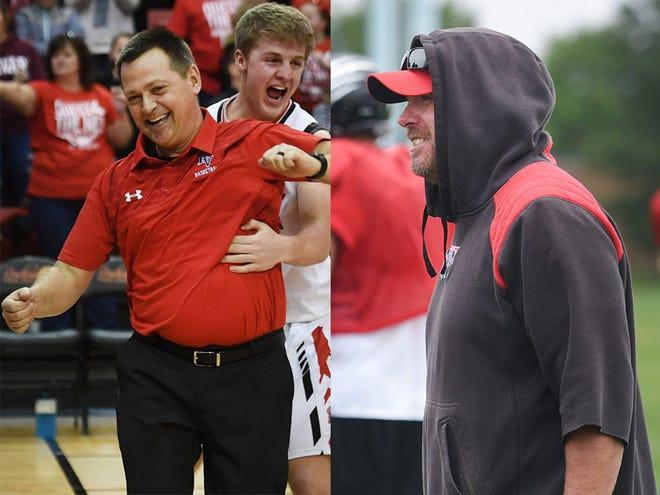 Brandon Valley basketball coach Brent Deckert (left) and football coach Chad Garrow