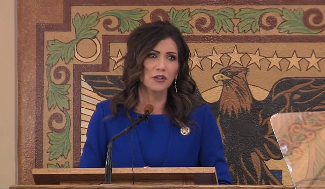 Gov. Kristi Noem gives her annual budget address on Dec. 8 in Pierre.
