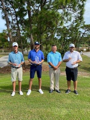 Jon Cross from Palm Beach Gardens won the 33rd Annual Treasure Coast Amateur Championship. Pictured are from left:  Tim Kelly, IRC Senior Champ; Jon Cross, TC Amateur Champ; Bela Nagy , Director of Golf and Tim Gavrich, IRC Champ.