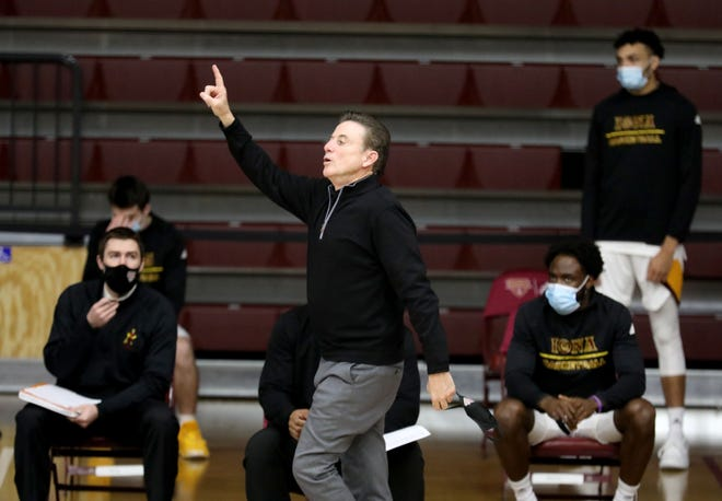 Iona College men's basketball head coach Rick Pitino on the sidelines during their game between Iona College and Morgan State at Iona College in New Rochelle, Dec. 8, 2020.