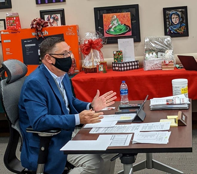 Wichita Falls ISD Superintendent Mike Kuhrt talks to trustees during  a school board meeting Tuesday, Dec. 8, 2020.