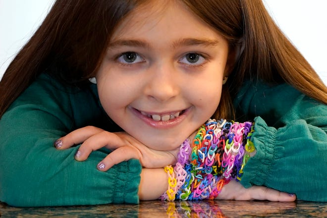 Hayley Orlinsky, 7,  has spent most of the coronavirus pandemic crafting the bracelets as a fundraiser, earning nearly $20,000, to buy personal protective equipment for the Ann and Robert H. Lurie Children's Hospital in Chicago.