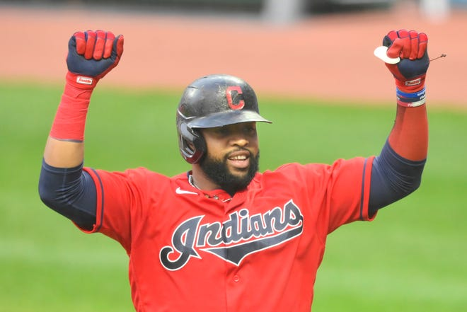 First baseman Carlos Santana played all 60 games last season with the Cleveland Indians and led the American League with 47 walks.