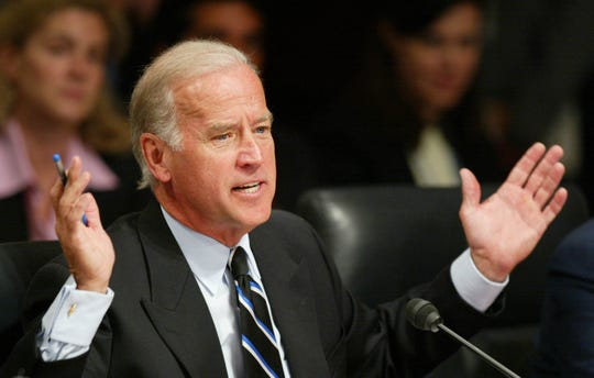 Sen. Joe Biden, D-Del., questions chief justice nominee John G. Roberts Jr. during the second day of confirmation hearings for President Bush's selection to be the 17th chief justice of the U.S. Supreme Court in Washington on Tuesday, Sept. 13, 2005.