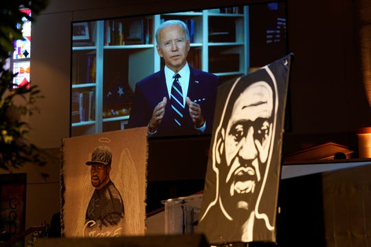 Joe Biden speaks via video link as family and guests attend the funeral service for George Floyd at The Fountain of Praise church  June 9 in Houston.