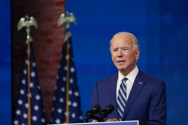 President-elect Joe Biden speaks during a Dec. 9 event to announce his choice of retired Army Gen. Lloyd Austin to be secretary of defense. [AP Photo/Susan Walsh]