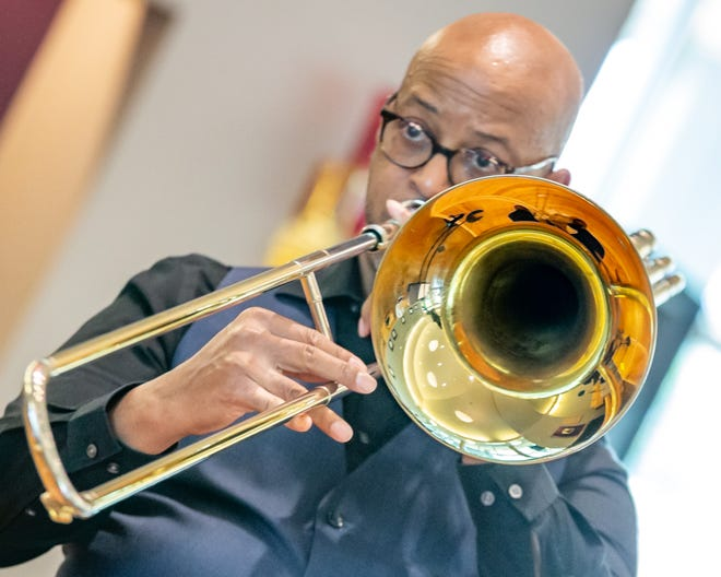 Ron Wilkins plays the trombone during Jazz at St. James, which was held virtually this year.