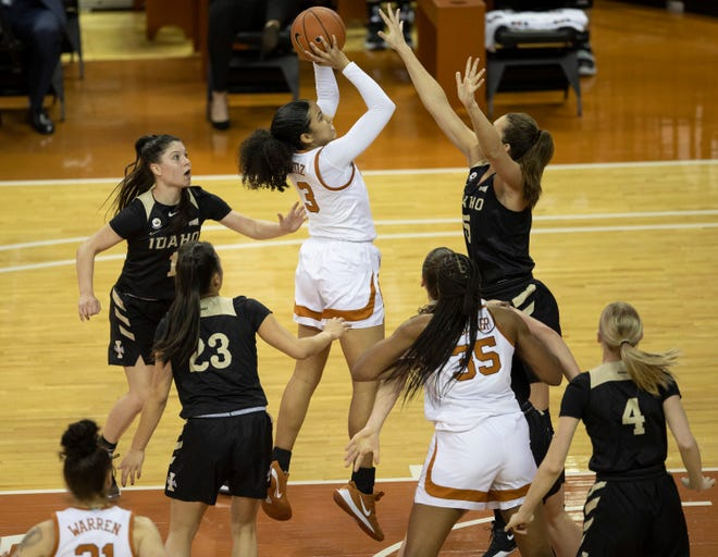 Texas guard Karisma Ortiz shoots over Idaho's Beyonce Bea during Wednesday's 73-48 win at the Erwin Center. Ortiz had a career day: 15 points, three rebounds, four assists and four steals.