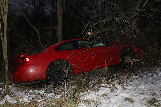This red 2003 Dodge Stratus driven by Carroll Armentrout, 32, of Polk crashed into a tree Tuesday evening in Jackson Township in Ashland County.