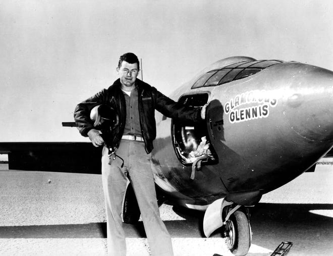 Capt. Charles E. Yeager is shown standing next to the Air Force's Bell-built X-1 supersonic research aircraft, in this photo provided by the U.S. Air Force, after became the first man to fly faster than the speed of sound in level flight on October 14, 1947.
