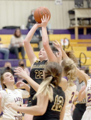 Bunceton's Madison Brown puts up a shot in the middle of the lane in the second half Monday night against Pilot Grove in the Pilot Grove Tiger Classic. Bunceton won the game over Pilot Grove 55-50.