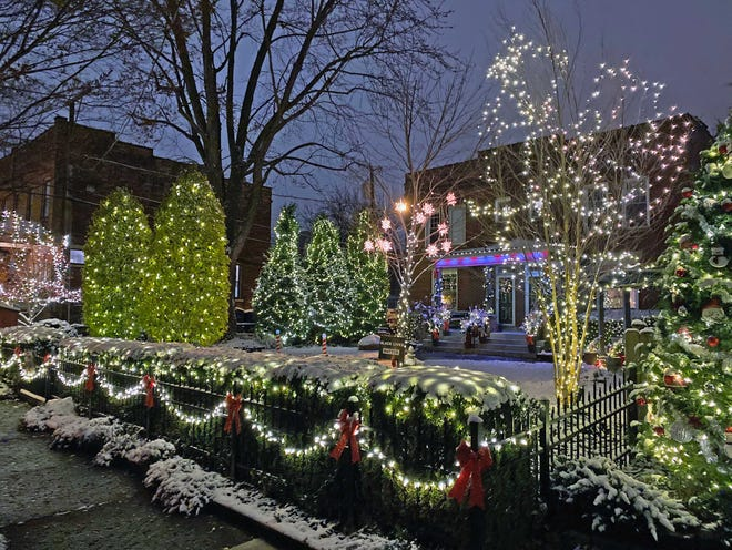 Michael Wilkos, along tenants Matthew Adair and Tyler Bender, have done a masterful job with the light displays outside Wilkos' duplex on East 9th Avenue in Weinland Park.