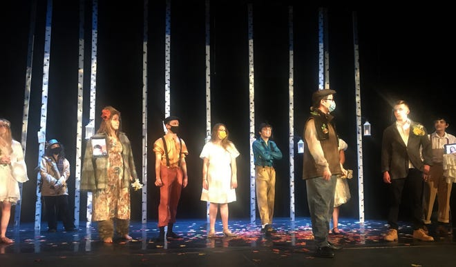 """The cast of """"As You Like It,"""" from Cathedral Preparatory School and Villa Maria Academy, rehearse for this weekend's performances."""