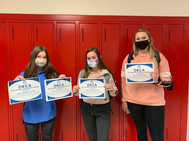 Hornell High School business students Allyson Buckley, Emma Schmitt and Lily Gaffney have qualified for the New York State DECA competition next March after earning some top place finishes at the DECA regional on Nov. 30.