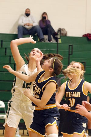 West Burlington's Leah Collier (12) and Notre Dame's Lauren Krieger (15) and Abby Korschgen (10) watch the ball shot by Collier to prepare for a rebound if necessary Tuesday in West Burlington.