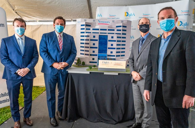 Daily's President/CEO Aubrey Edge (from left), Gov. Ron Desantis, Nemours Children's Health System President/CEO Lawrence Moss and Jacksonville Mayor Lenny Curry were on hand for the dedication of The Daily's Foundation Pavilion at Nemours Children's Specialty Care, Jacksonville.
