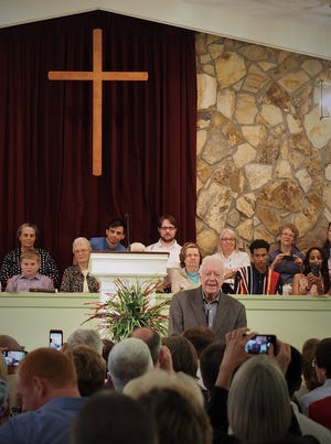 Jimmy Carter teaches Sunday School at Maranatha Baptist Church in Plains, Ga., on Father's Day in 2017.
