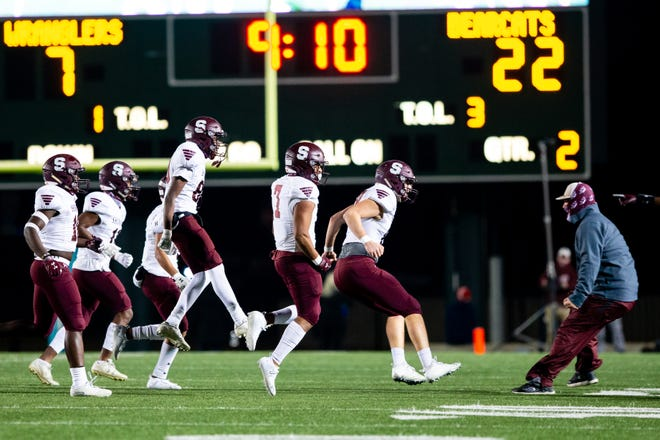 The Sherman defense celebrates after a fumble recovery last week in a win against West Mesquite. The Bearcats open the playoffs at College Station on Saturday afternoon.