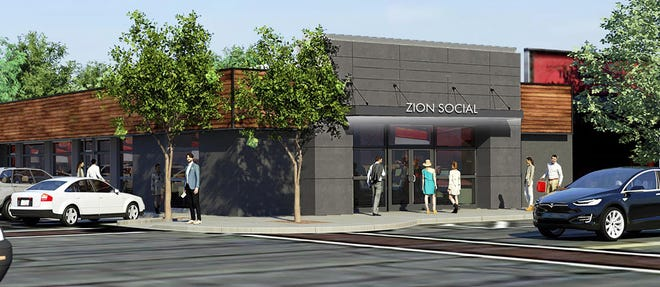 This rendering shows the proposed Zion Coffee expansion in Peoria Heights.