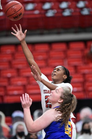 Texas Tech freshman forward Daija Powell goes up for a shot during the Lady Raiders' 87-42 home victory Wednesday against Angelo State. Tech opens Big 12 play on Monday at No. 7 Baylor.