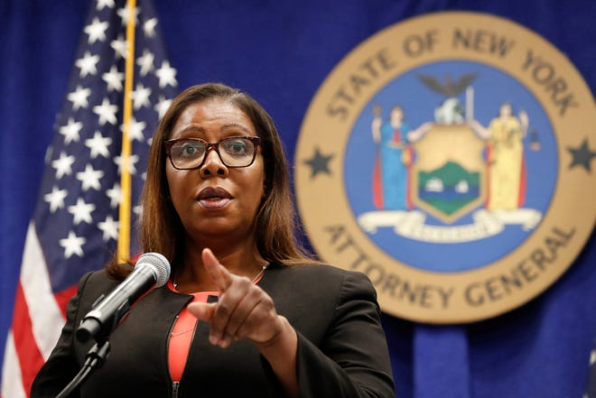 FILE- In this Aug. 6, 2020 file photo, New York State Attorney General Letitia James takes a question at a news conference in New York. Federal regulators and a group of states launched a landmark antitrust offensive against Facebook, accusing the social network of abusing its market power in social networking to crush smaller competitors. ÒItÕs really critically important that we block this predatory acquisition of companies and that we restore confidence to the market,Ó said James during a press conference announcing the lawsuit. (AP Photo/Kathy Willens, File)