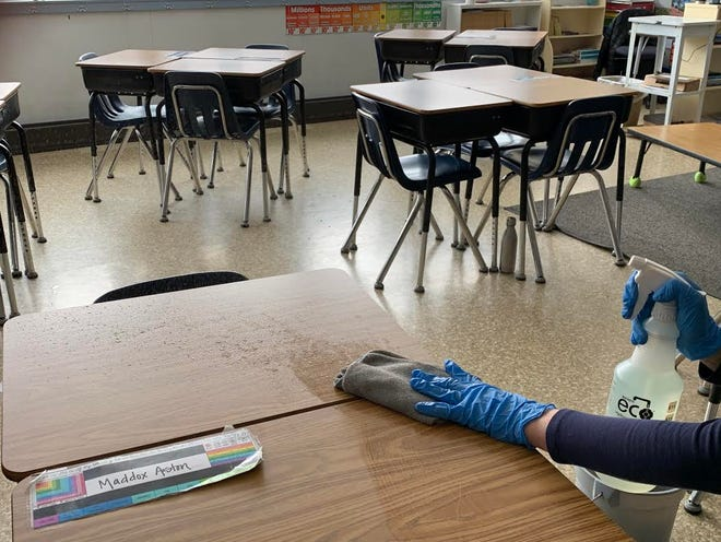 Although they didn't know that students wouldn't be returning at the time, teachers and the custodial staff were hard at work at Mount Shasta's Sisson School were busy in March disinfecting every possible surface while students were at home to help stop the spread of COVID-19.