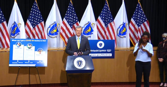 Gov. Charlie Baker during Wednesday's press conference when he provided details of the expected distribution of the coronavirus vaccination.