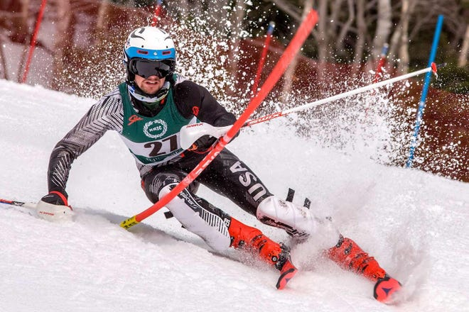 Cam Lent, a 2019 graduate of Dover High School, missed his freshman season on the Plymouth State University ski team due a knee injury. Lent, after being sidelined and rehabbing for a year, is anxious to return to the slopes with his teammates.