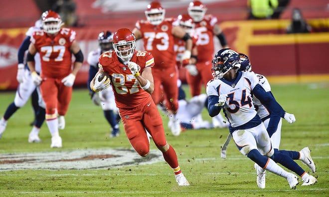 Kansas City Chiefs tight end Travis Kelce makes yardage for a first down in the third quarter against the Denver Broncos on Sunday, Dec. 6, 2020, at Arrowhead Stadium in Kansas City, Missouri. (Jill Toyoshiba/The Kansas City Star/TNS)